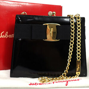 SALVATORE FERRAGAMO Vara Mini Shoulder Patent Leather Black Gold Itay 08BU632
