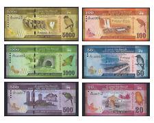 Sri Lanka Uncirculated Banknotes Set of 6 - 20 50 100 500 1000 5000 Rupees
