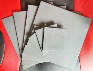 Set of Four Dark Grey Faux Leather Square Placemats & Coasters