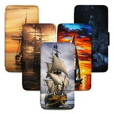 Ships Nautical Sea Boats Flip Phone Case Cover Wallet - Fits Iphone 5 6 7 8 X 11