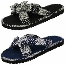 LADIES CROSSOVER MATERIAL MULE SAMANTHA IN NAVY AND BLACK