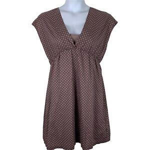 Garnet Hill 12P Dress Babydoll Short Sleeve V Neck Polka Dot Purple Beige Lined