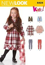 NEW LOOK SEWING PATTERN KIDS DRESS VEST TOP & KNIT LEGGINGS SIZES 3 - 8   6424