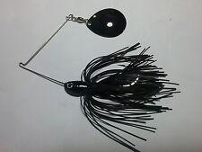 SPINNERBAIT 3/8 oz NIGHT TIME Bass LURE All BLACK SINGLE Colorado BLADE