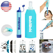 Outdoor Survival Water Filter Straw Drinking Purifier Squeeze Bottle Emergency