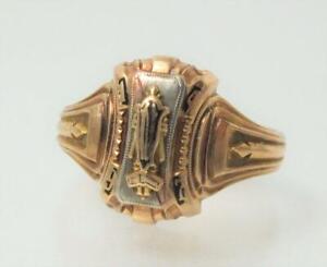 ANTIQUE 1947 10K YELLOW GOLD HERFF JONES CLASS RING 4.9 GRAMS SIZE 9 LETTER N