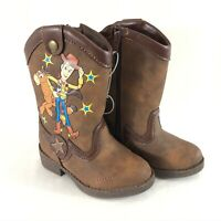 Toy Story Toddler Boys Western Boots Faux Leather Slip On Woody Brown Size 5