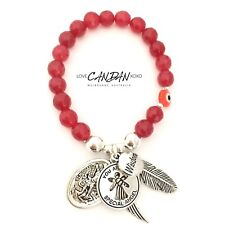 Evil Eye Mati Saint Michael Guardian Angel Feather Wing Wisdom Charms Bracelet