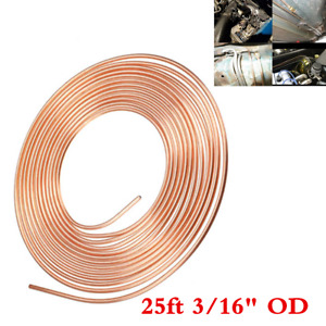 """Copper Nickel Brake Line Tubing Kit 3/16"""" OD 25Ft For Car SUV Household+Fittings"""