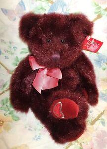"RUSS BERRIE PLUSH 14"" BURGUNDY RED VALENTINE BEAR MINX SILVER HEART ON FOOT MWT"