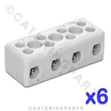 6x in ceramica ad alta temperatura BLOCCHI CONNETTORE ELETTRICO 4 POLI 4mm 32A