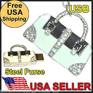 Purse Handbag Crystal Slide Out USB Memory Stick Thumb Drive Necklace Keychain