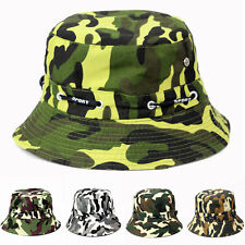 Men Women Camouflage Bucket Hat Cotton Fishing Sun Summer Outdoor Camping Cap
