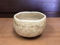 Y1082 CHAWAN Raku-ware white signed tea ceremony Japanese pottery antique bowl