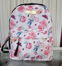 Betsey Johnson Backpack Floral Striped Pink Travel School Diaper Bag NWT