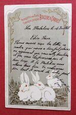 CPA. Publicité RIVOIRE & CARRET. Lapins. Art Nouveau. Doré. 1902 ?
