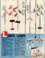 1962 PAPER AD 4 PG Lighting Lenox Pole Lamp Lehigh Progress Ceiling Tole