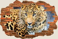 3D Hole in Wall Leopard Safari View Wall Stickers Mural Art Decal Wallpaper S55