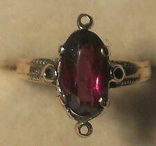 Antique Victorian 1850s 1ct Fancy Cut Rhodolite Garnet 14k Gold Ring