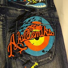 Men's Akademiks Jeans Size 34/33 Highly Embroidered with Bombs Aircraft Distress