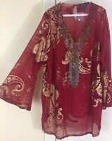NWT Roaman's Plus 18W Bell Sleeves Hippie Boho Caftan Gypsy Red Gold Tunic Top
