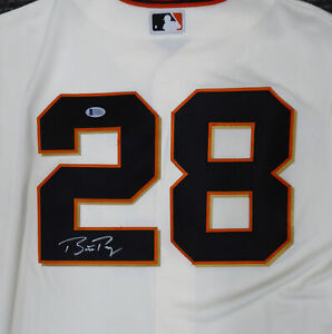 GIANTS BUSTER POSEY AUTOGRAPHED CREAM MAJESTIC COOL BASE JERSEY L BECKETT 185705