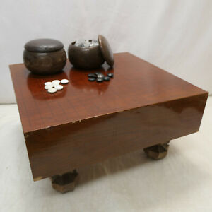 Vintage Japanese Wooden GO BOARD GAME with STONES Strategy Goban Go-Ishi #117