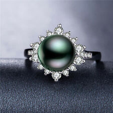 Pretty 925 Silver Jewelry Round Cut Black Pearl Women Wedding Ring Size 8