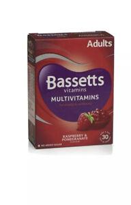 30 x Bassett Multivitamins Adults Raspberry & Pomegranate Flavour - 30 Pastilles