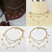 Women's Moon Star Pendant Choker Necklace Multilayer Long Chain Jewelry Simple
