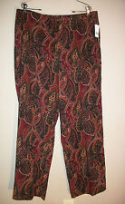 Savion Paisley Pants Size 18 Brushed Feel Brown & Cranberry Side Zipper NWT