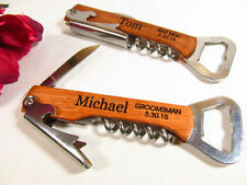 2 Personalized Engraved Wine Opener Corkscrew Groomsman Wedding Party 2 Lines