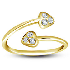 Heart Adjustable Toe Ring For Womens 14K Yellow Gold Finish Diamond Double