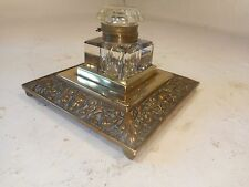 Antique Bass Base Glass Inkwell     ref 2961