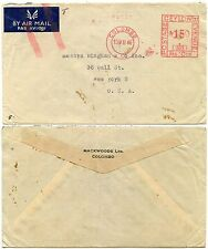 CEYLON METER FRANKING 1946 AIRMAIL ENVELOPE DOWNGRADED MACKWOODS to USA