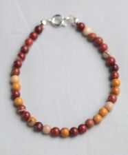 "BROWN / GOLD MOOKAITE BRACELET 7.5"" IN LENGTH ~ SILVER PLATED ~ UNISEX"