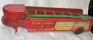 Wyandotte Hook & Ladder #1 Fire Truck Trailer Only Parts Or Restore! Tin Litho
