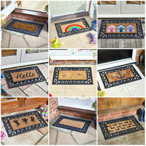 Heavy Duty Natural Coir Insert Door Mats Rubber Frame Indoor Outdoor Non Slip