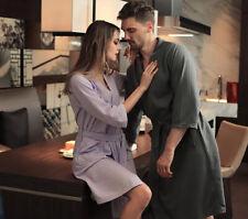 Couple Bathrobe Kimono Unisex Long Sleeve Hydrophilic Fiber Dressing Gown Soft