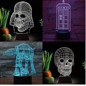 Unbelievable LED 3D Illuminated Illusion Light Sculpture Desk Lamp Night USB
