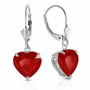 Genuine Red Ruby Heart Gemstone Leverback Earrings 14K. Yellow, White, Rose Gold