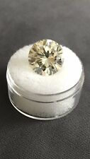 7.30ct VVS1 (13.11mm) AAA FANCY OFF WHITE YELLOW LOOSE MOISSANITE