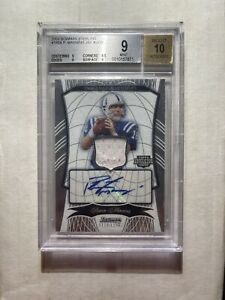 2009 Bowman Sterling Peyton Manning JERSEY PATCH AUTO /30 #180A BGS 9/10 MINT