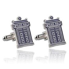 BLUE ENAMELLED CUFFLINKS - DR. WHO's TARDIS - GIFT BAG - FREE UK P&P.......W1570