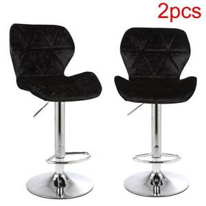 Set of 2 Crushed Velvet Bar Stools Adjustable Swivel Dining Counter Chairs Pub