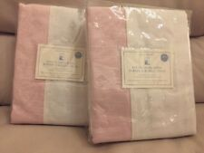 S2 Pottery Barn Kids Evelyn Linen Blend Border Blackout Panels Pink/white Nip 84