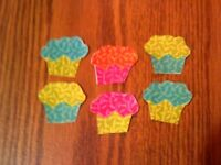 Mini Cupcake  - 6 - Iron-On Fabric Appliques.  (B)