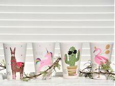 4x Becher Set Pink Unicorn & Friends Einhorn Kinder Garten Tisch Deko H.13 cm