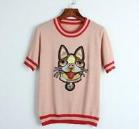 Spring/Summer New Occident Dog Head Embroidery Knitting Short Sleeve Tops Chic