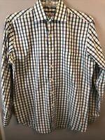 Peter Millar Men's Medium Button Front Shirt L/S White, Green, Purple Checks